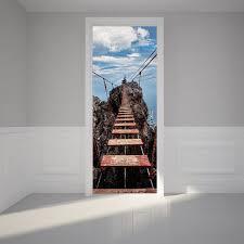 3D Door Sticker Murals DIY Wall Home Decor Art Mural Creative Vinyl  Wallpaper Waterproof Wooden Drawbridge
