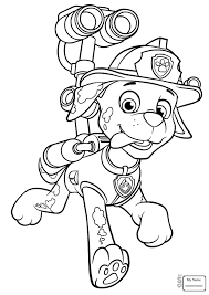 Paw Patrol Coloring Pages Free Prepossessing Marshall Paw Drawing At