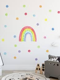 watercolor rainbow and polka dots wall