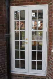 Exterior Classic White Stained Wooden Frame Swing Glass Door Panel