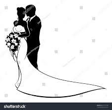 Bride Groom Wedding Couple Silhouette White Stock Vector 621211598