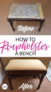 the before and after pictures of my how to reupholster a bench diy even though