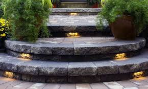 outdoor step lighting in garden