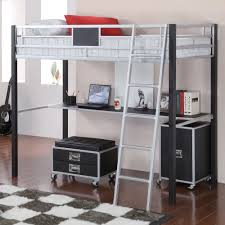 coaster leclair twin metal loft bed with desk black silver com
