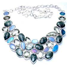more views gemstone silver necklace