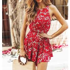 Women Boho Floral Rompers Ladies <b>Backless Summer</b> Beach ...