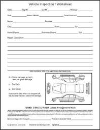 inspection sheet auto service vehicle inspection worksheets dodson group