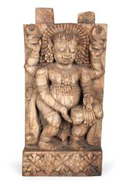 India An Old Four Armed Relief Sculpture Made Of Wood