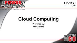 Cloud Computing Examples Cloud Computing Presented By Mark Jordan Agenda Definition
