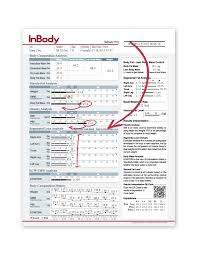 inbody 570 result sheet body fat m percent body fat and segmental lean ysis highlited