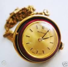 bucherer red enamel ball watch pendant