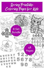 Spring Printable Coloring Pages For Kids 8 Set Bundle The