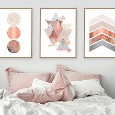 pink grey and gold wall art