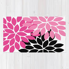 bold colorful hot pink black dahlia flower burst petals rug