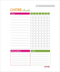 Weekly Chore Chart Template 11 Free Word Excel Pdf