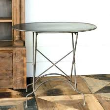 metal and wood side table small round white