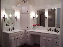 Bathroom Cabinet Tower Custom Master Bathroom With Double Corner Vanity Tower Cabinet