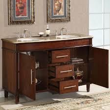 55 double sink vanity travertine top cabinet