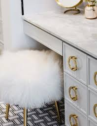 white and gold vanity stool. White And Gold Makeup Vanity Stool At Gray Dressing Table Intended