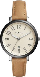 women s fossil jacqueline brown leather watch es4150 loading zoom