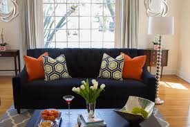 Orange Living Room Chairs Brilliant Navy And Orange Living Room Captivating Interior Decor