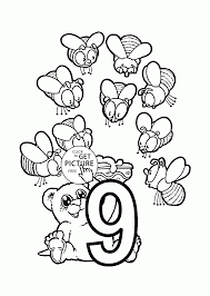 Small Picture Number 9 coloring pages for preschoolers counting numbers