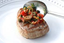 sicilian style grilled tuna steaks recipe olives capers tomatoes lemon wine sauce fish seafood