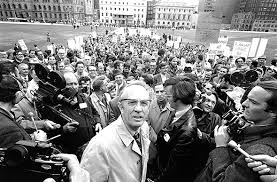 canadian personalities tommy douglas tommy douglas outside parliament surrounded by media and crowd ottawa 22