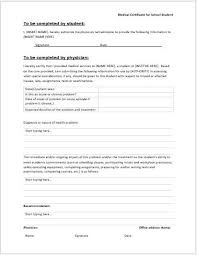 Medical Certificate Template For School College Word Excel Templates