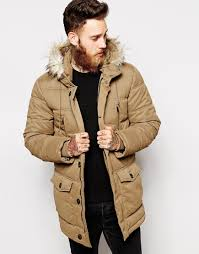 Asos Quilted Parka Jacket in Brown for Men | Lyst & Gallery Adamdwight.com