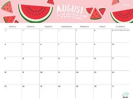 August Theme Calendar The Foodie Collection 2019 Calendar August Calendar Cute
