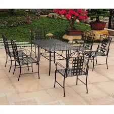 international caravan mandalay 7 piece iron patio dining set in black