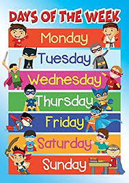 Days Of The Week Chart For Toddlers Days Of The Week Poster School Educational Wall Chart Boys Kids A4 Or A3 A4 210x297mm