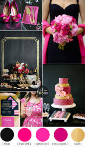 Black and hot pink wedding colour theme { bright pink + perisian rose +  gold }