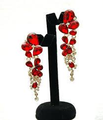 red crystal earrings long rhinestone earrings long chandelier gold earrings wedding jewelry teardrop earrings