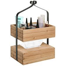 Rustic Style 2-tier Natural Wood & Black Metal Home Storage Organizer Rack  / Tissue Holder Box - MyGift