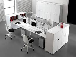 white office interior. black ceramic floor tile contrast with modern white office desk plus partition and storages set design interior