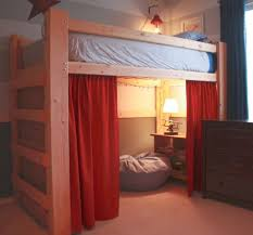 loft bed with stairs with curtains