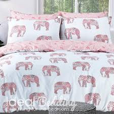 home pink elephant print duvet set and pillowcase bedding set previous next
