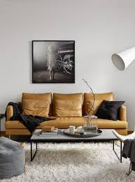 scandinavian leather furniture. Tanned Leather Sofa In Scandinavian Style Living Room Furniture A