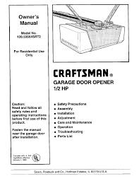 troubleshooting craftsman 1 2 hp garage door opener manual with