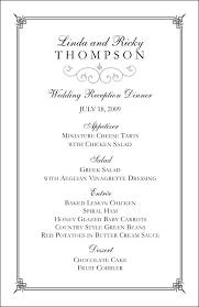 Reception Menu Template Wedding Reception Dinner Menu Template