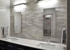 modern bathroom backsplash. Modern White Bathroom With Sleek Gray Tile Backsplash Y