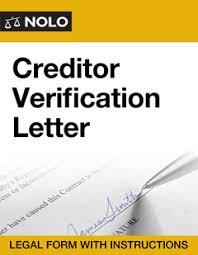 Creditor Verification Letter Nolo