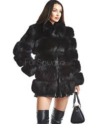 black fur coat tiered black fox fur coat ympzazi