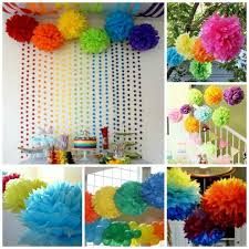 Tissue Balls Party Decorations Hanging Pom Poms Large Tissue Balls Rainbow Party Decoration 89