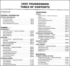 2005 ford thunderbird repair shop manual original this manual covers all 2005 ford thunderbird models including the 50th anniversary convertible this book measures 8 5 x 11 and is 2 5 thick