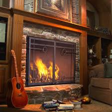 pretty glass doors wood burning fireplace applied to your residence idea