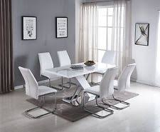soro white grey high gloss chrome dining table set and 6 leather chairs seat