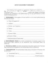 Artist Performance Contract Template Samples Booking New Cont